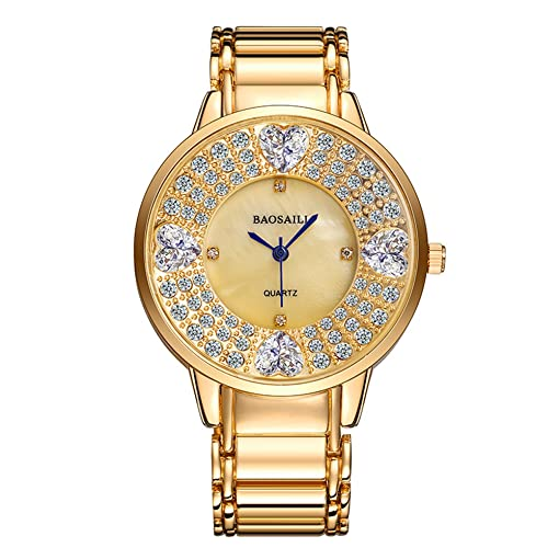 BSL1036 BAOSAILI Heart Imitation Diamond Stone Shining Women Luxury Design Wrist Watch