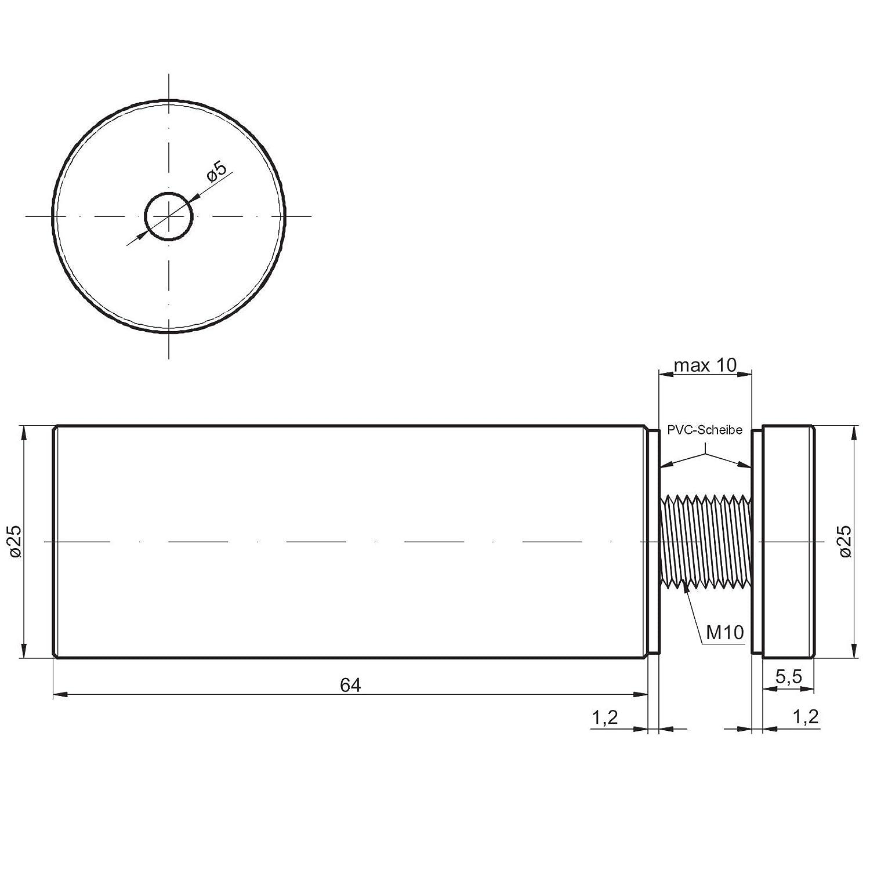 4 St/ück Glas-Abstandshalter /Ø 19 mm mit 36,2 mm Wandabstand Chrom poliert Abstandshalter Glasabstandhalter Plattenhalter von SO-TECH/®