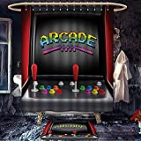 homecoco Video Games anti slip Shower curtain with bath mat Arcade Machine Retro Gaming Fun Joystick Buttons Vintage 80s 90s Electronic Fabric Bathroom Decor Set with Hooks Multicolor