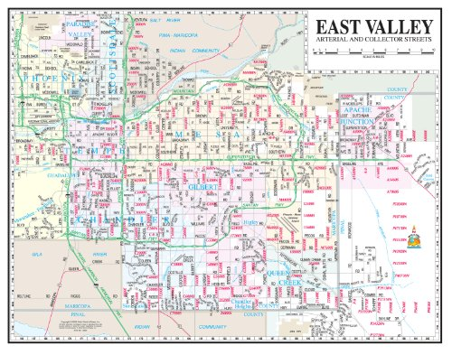 East Valley Arterial and Collector Streets Desk Map Gloss - Gilbert San Tan