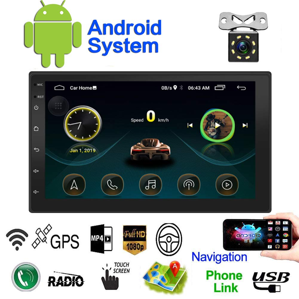 Double Din Android Car Navigation Stereo Standard 1G/16G Car Entertainment Multimedia Radio,WiFi/BT Tethering Internet, GPS (Android with GPS 1G) by SARCCH