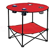 Preferred Nation Folding Table, Polyester with Metal Frame, 4 Mesh Cup Holders, Compact, Convenient Carry Case Included - Red