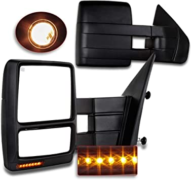 SCITOO Tow Mirrors fit Ford F150 2007-2015 Automotive Exterior Mirror Chrome View Mirrors with with Puddle Light Turn Signal Power Control Heated Manual Telescoping and Folding Features