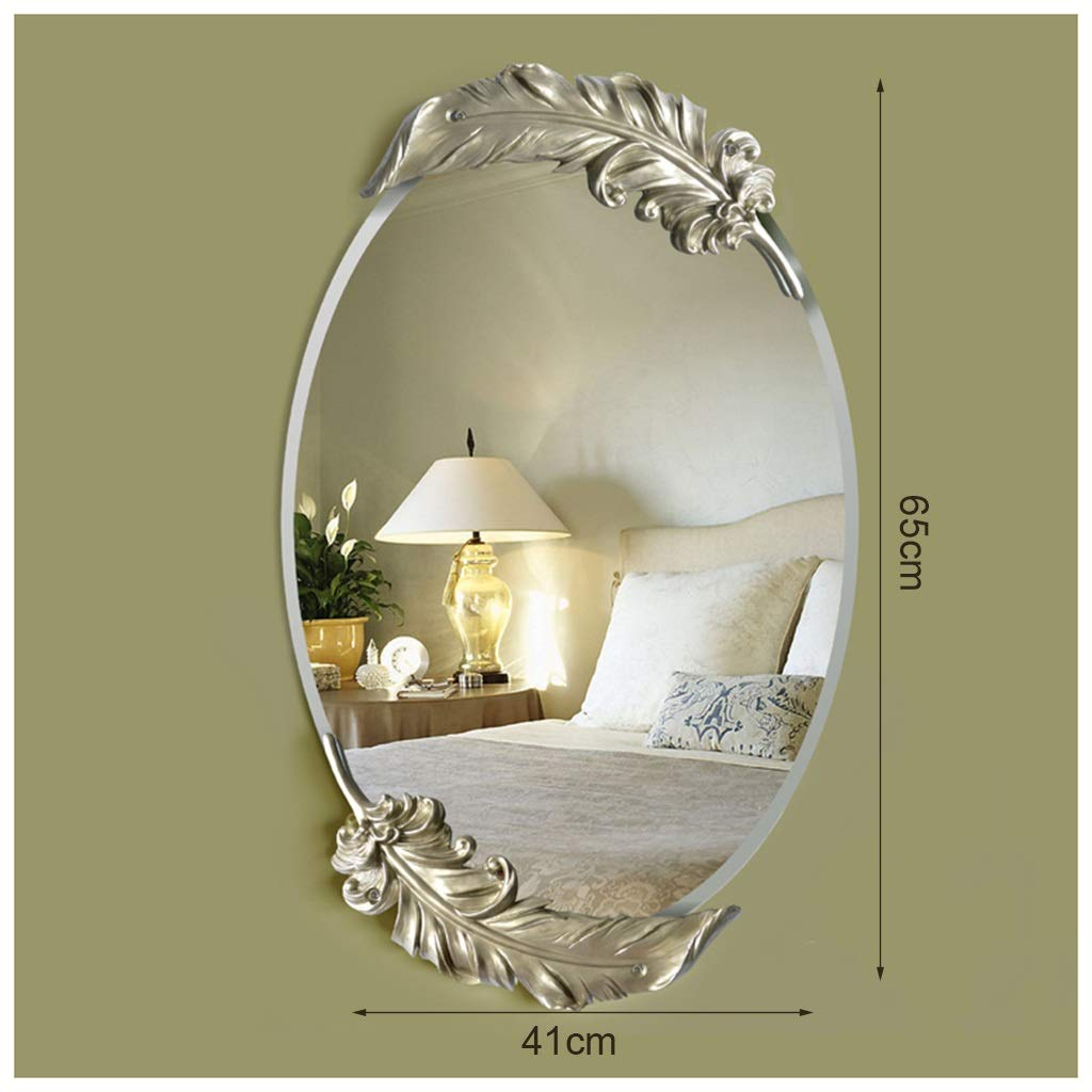 Champagne 48cmX75cm YYF Frameless Elliptical Mirror European Feather Dressing Wall Hanging Bathroom Living Room 65cm41cm (26 inches  16 inches) (color   Champagne, Size   48cmX75cm)