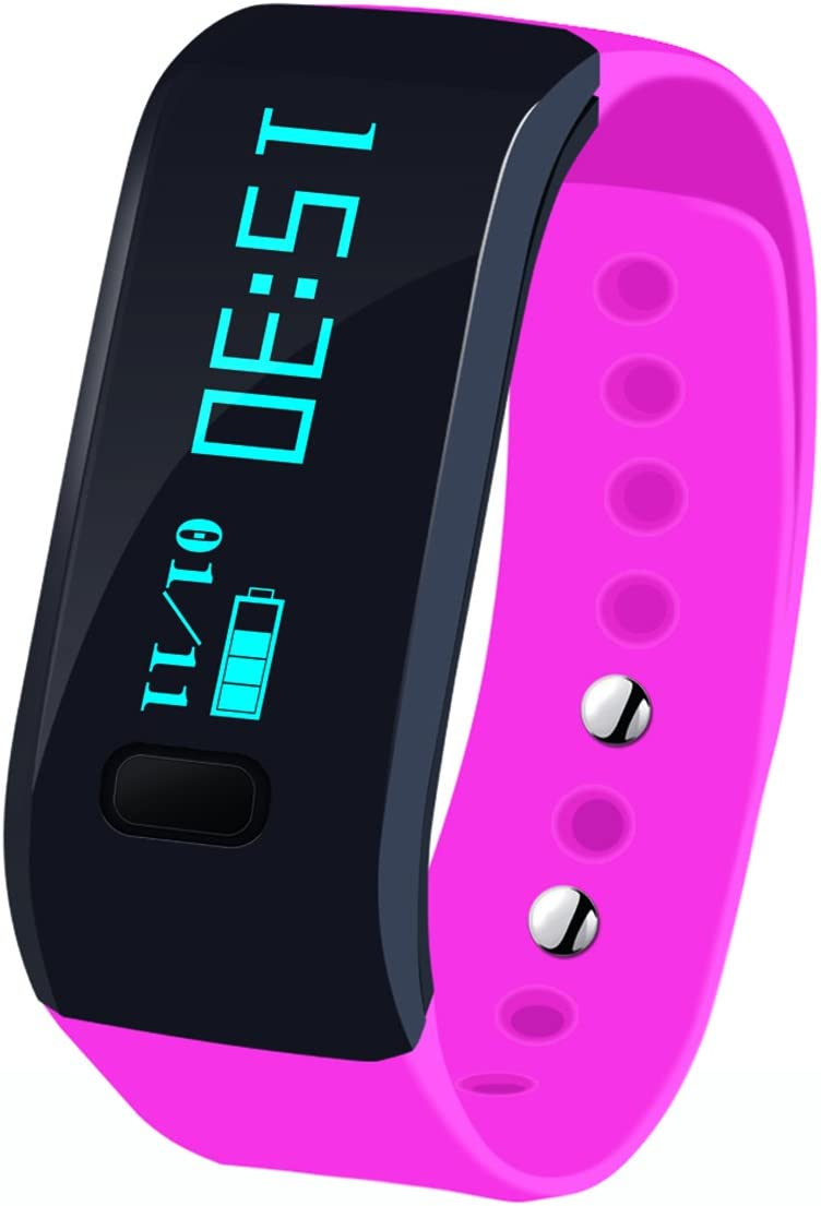 Megadream Waterproof IP65 Intelligent Activity Fitness Tracker with Pedometer Tracking & Sleep Quality & Health Sport Monitoring Smart Wristband Fitness Tracker Bracelet for iPhone & Android - Pink