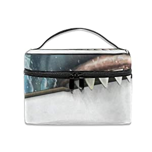 Toiletry Bag Multifunction Cosmetic Bag Sea Shark Attack Portable Makeup Pouch Waterproof Travel Organizer Bags For Women Girls Beauty
