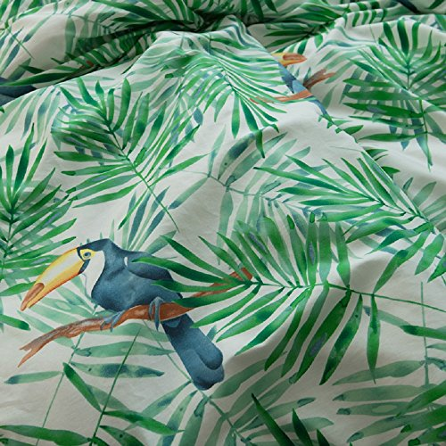 Jane yre Tropical Green 3 Piece Duvet Cover Set Bedding Set.Hawaiian Duvet Covers Tropical Woodpecker Bedspread Green Leaves Quilt Cover Queen Size by Jane yre (Image #5)