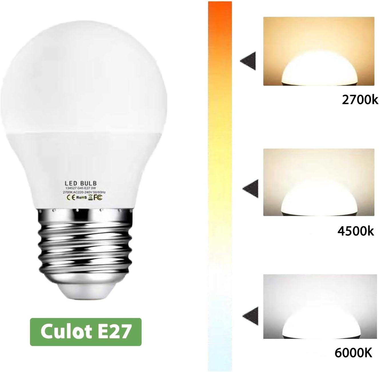 Ampoule LED E27,Blanc Naturel 4500K,3W /équivalent 30W,300LM,220-240V,Non-Dimmable Lot de 10