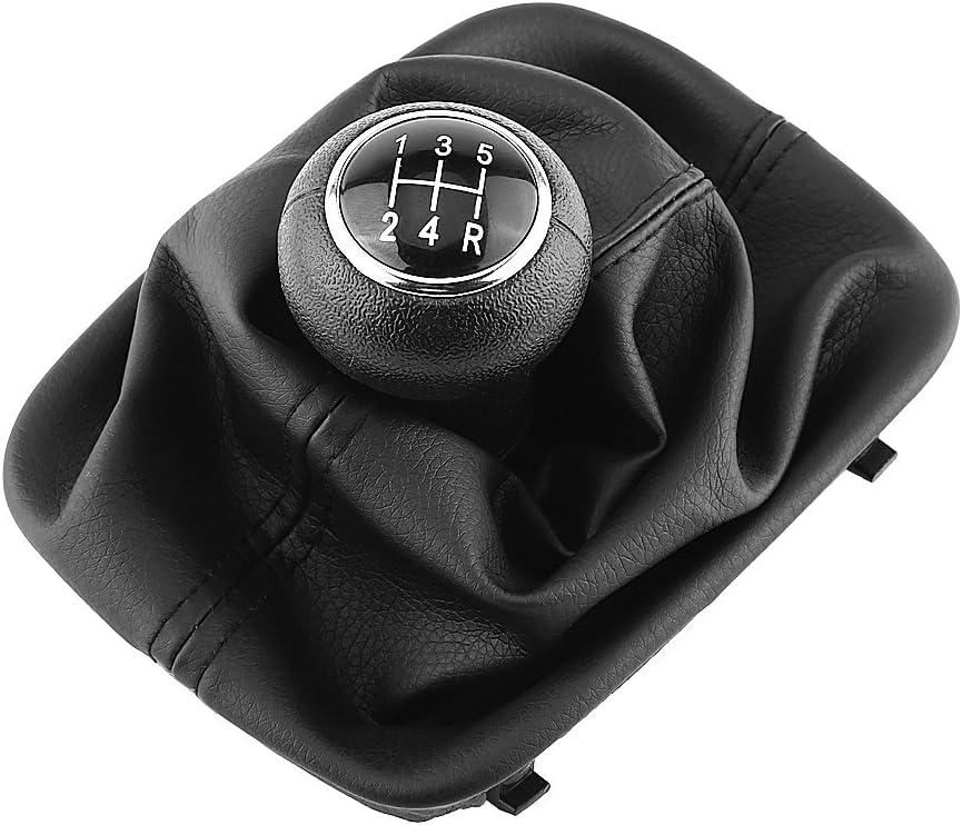 Qiilu 5 Speed Manual Car Gear Shift Knob Gearstick Gaiter Boot Kit for Audi A6 C5 A4 B5 A8 D2 1998-2000