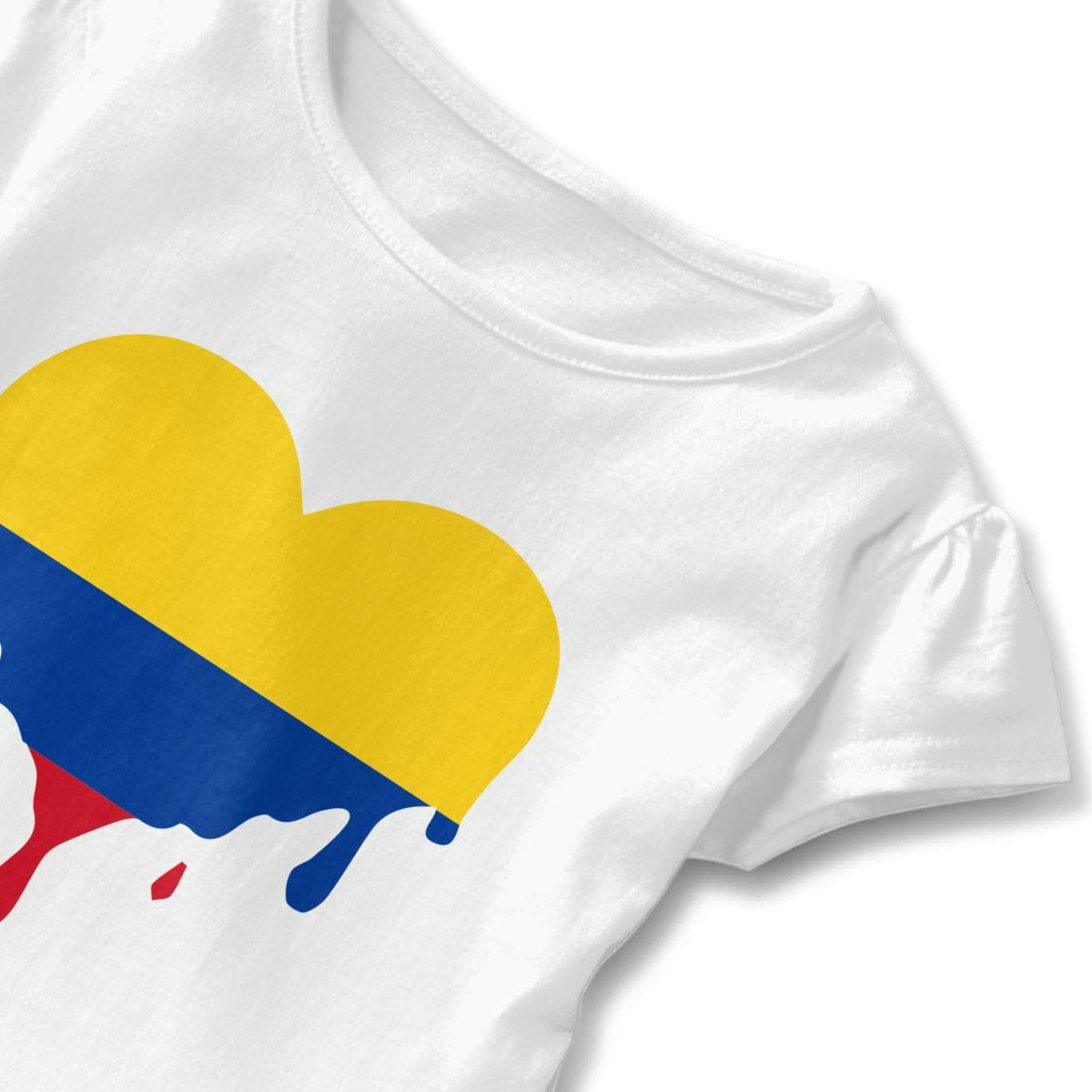 SC/_VD08 Dripping Heart Colombia Flag Kids Children Short-Sleeved Tshirts Top/&Tee