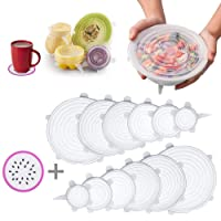 Silicone Stretch Lids, 6 Pcs Stretchable Reusable Food Saver Covers for Dishwasher and Freezer, Silicone Bowl Covers Reusable, Lanting