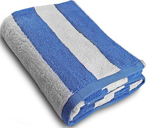 Large Beach-Towel Pool-Towel in Cabana Stripe- Blue, Cotton, Easy Care, Maximum Softness and Absorbency (35 x 70 inches) by Utopia Towel