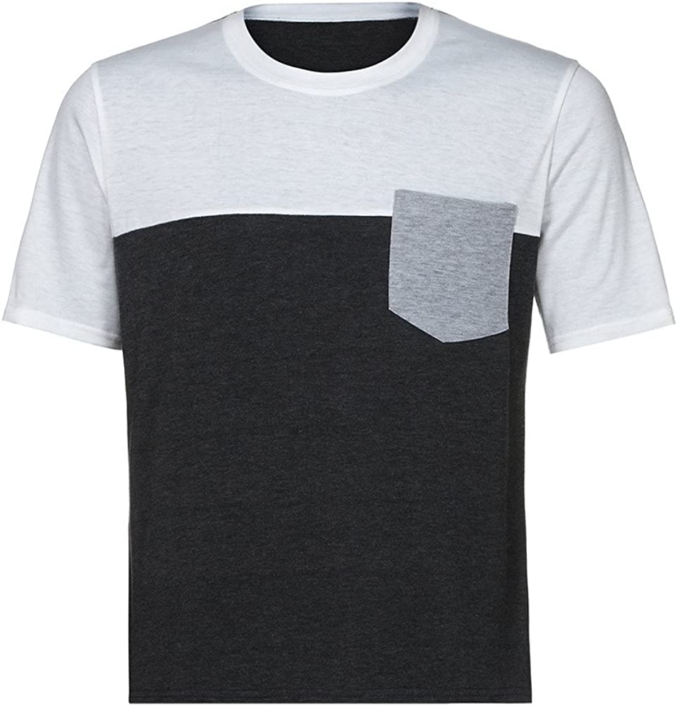 Men T-Shirt Short Sleeve Casual Fashion Slim Fit Round Neck Classic Contrast Tee Tops