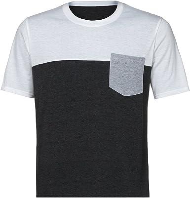 Moda Camiseta Hombre Manga Corto, Tops Hombres Camiseta Musculosa Slim Casual Fit Manga Corta Patchwork Bolsillo Blusa Top: Amazon.es: Ropa y accesorios