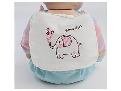 NaXinF Toallas de baño para bebés Niños Elefante Bordado Sudor Absorbente Wicking Toalla Gasa Toalla de