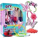 Joyin Toy DIY Girl 12 Satin Fashion Headbands Kids Art and Crafts Kits, Girls Jewelry Making Kit-Decorated with Hair Accessories