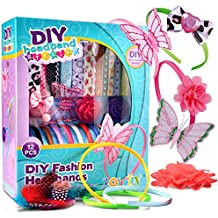 Joyin Toy Pretend Play DIY Girl Fashion Satin Headbands 95 Pieces Kids Art and Crafts Kit Girls Jewelry Making Kit-Decorated with Hair Accessories Flowers Butterfly Rhinestones Ribbons Feathers.