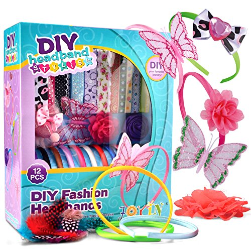 Joyin Toy Pretend Play DIY Girl Fashion Satin Headbands 95 Pieces Kids Art and Crafts Kit Girls Jewelry Making Kit-Decorated with Hair Accessories Flowers Butterfly Rhinestones Ribbons Feathers. (Princess Hair Kit)