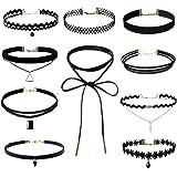 Wenseny 10 Stück Damen Hoker Halskette Velvet Spitze Choker Halsketten Tattoo Punk Gothic Halsband, Schwarz