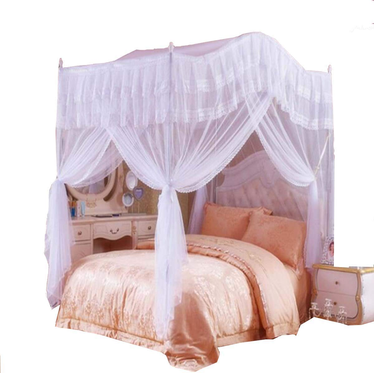 Mengersi Arched 4 Corners Post Bed Curtain Canopy Net Square Princess Fly Screen