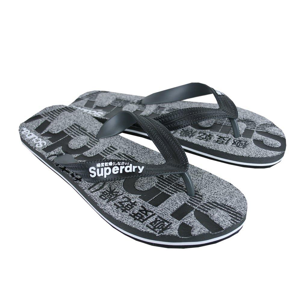 bfff7b9a03f402 Superdry Scuba MARL Flip Flops Black Grey  Amazon.co.uk  Shoes   Bags