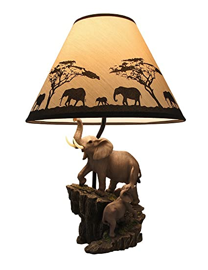 Resin Table Lamps Elephants On Expedition Sculptural Table Lamp W Decorative Shade