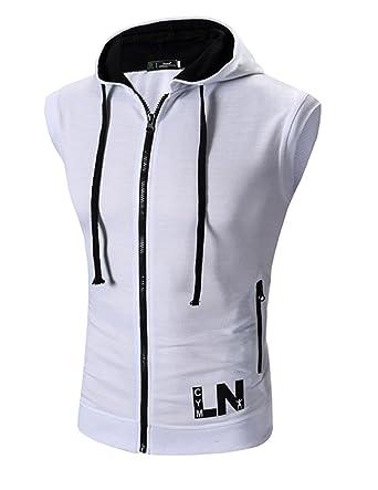 ba7f1d71fd94d Boom Fashion Homme à Capuche Maillot sans Manches Casual Jogging Athletic  Fitness T Shirt Haut Gilet  Amazon.fr  Vêtements et accessoires