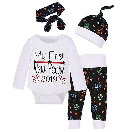 da0da2bed8dd 4Pcs Christmas New Year Toddler Newborn Baby Girl Boy Romper+Pants+Hat +Headband