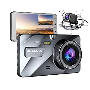 "Jeemak Dual Lens Dash Cam Front and Rear 1080P+720P Dashboard Camera,Night Vision Waterproof Backup Camera,4"" IPS LCD, in Car Vehicle Driving DVR Recorder, G-Sensor Parking Monitor"