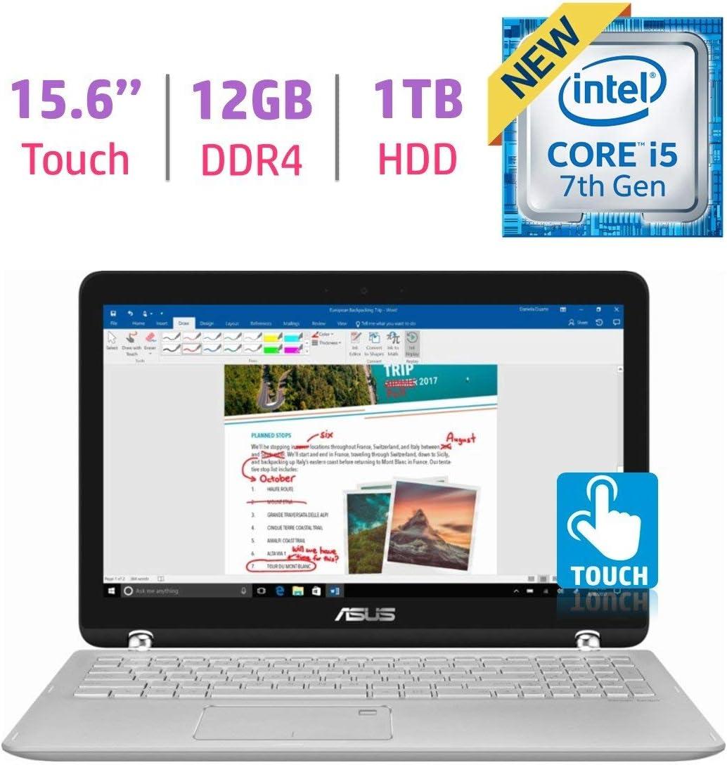 "ASUS 15.6"" 2-in-1 FHD Touchscreen Laptop PC, Core i5-7200u, 12GB DDR4 SDRAM, 1TB HDD, Fingerprint reader, Backlit Keyboard, Windows 10 (Renewed)"