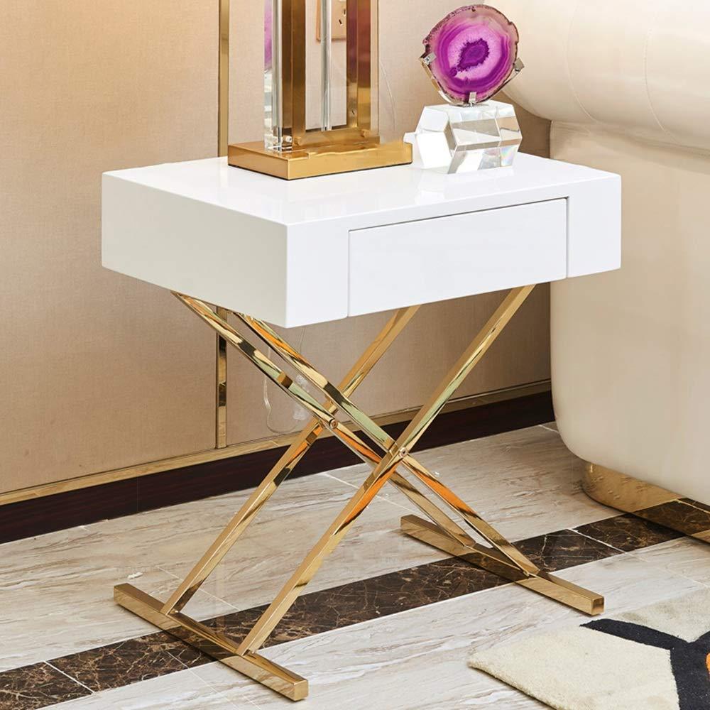 FEIFEI サイドテーブルホームリビングルームベッドルームシンプル引き出し付きステンレススチール+木製コーヒーテーブル50 * 40 * 57CM(黒、白) (色 : 白)  白 B07KDSXS9M