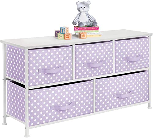 mDesign 5-Drawer Dresser Storage Unit - Sturdy Steel Frame, Wood Top and Easy Pull Fabric Bins in 2 Sizes - Multi-Bin Organizer for Child Kids Bedroom or Nursery - Light Purple with White Polka Dots