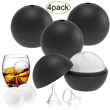 YHmall 4 Pack Eiswürfelform Silikon Eiskugelform Eiswürfelbehälter Eiswürfel, Eiswürfelbehälter für Familie, Partys und Bars