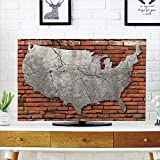 iPrint LCD TV Cover Multi Style,USA Map,Cement Cracking American Continent Over Brick Wall Modern Urban Artsy Scenery Decorative,Grey Cinnamon,Customizable Design Compatible 37'' TV