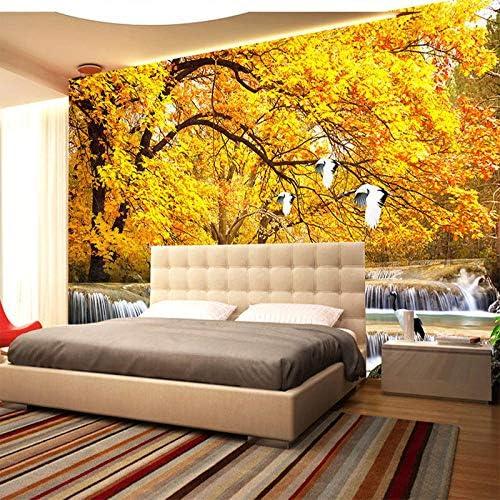 3D壁紙金の木晩秋森水の風景壁画寝室リビングルーム背景壁画-250x175cm