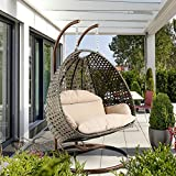 Deluxe Swing Chair Outdoor Furniture PE Rattan Wicker Hanging Hammock with Stand, Cushioned Loveseat Chaise Lounger, Perfect for Patio, Garden, Porch, Backyard, House, Indoor Decor (LATTE) Review