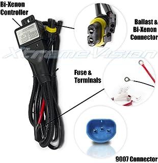 amazon com zeez hid 9007 hb5 relay harness for bi xenon hi lo xtremevision 9007 hi lo bi xenon controller hid battery relay wiring harness 12v 35w