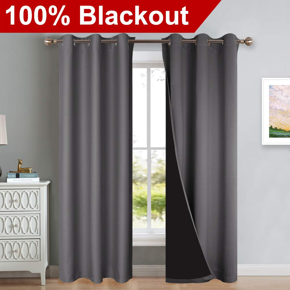 """NICETOWN Grey Full Shade Curtain Panels, Pair of Thermal Insulated & Energy Efficiency Blackout Curtains for Living Room Windows, Lined Silky Performance Window Dressing (42"""" Wide x 84"""" Long, Gray)"""