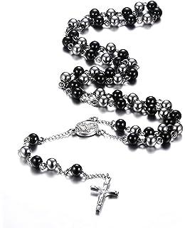 33fa3de9db0c2 Chapelet en acier inoxydable avec crucifix et une longue chaîne de perles  de couleur noir et