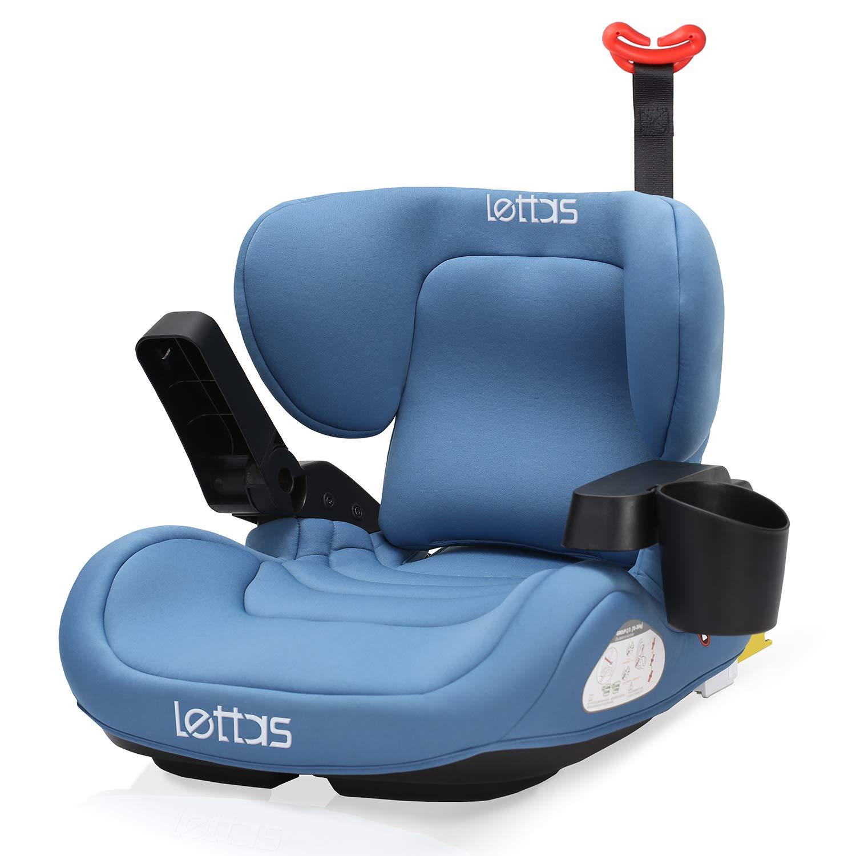 LETTAS Kindersitzerh/öhung Lendenkissen Autokindersitz mit ISOFIX Gruppe 3 ECE R44//04 22-36 KG//6-12 Jahre Blau
