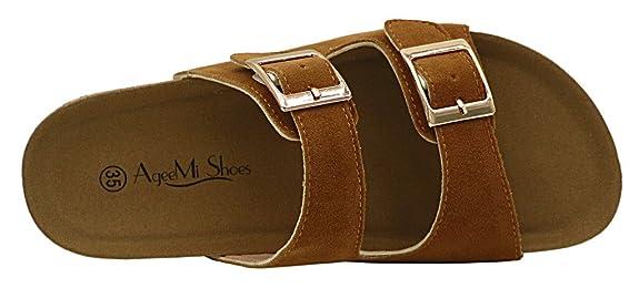 AgeeMi Shoes Unisex Slip On Offener Zeh Doppel Riemen Gummi Flats Sandalen,EuL06 Weiß 36