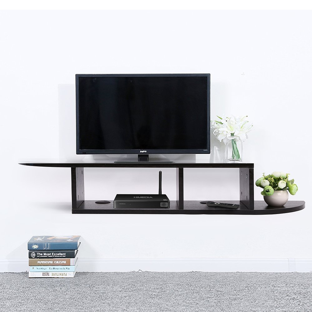 2 Tier Floating Shelf Wall Mount TV Console, Media Stand Entertainment Center for Cable Boxes, Routers, Remotes, DVD Players, Game Console, Books(Black)