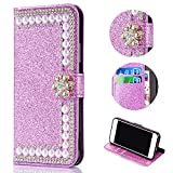 Bling Glitter Case for Samsung Galaxy A6 2018,Shinyzone Luxury Diamond [3D Flower Magnetic Buckle] [Stand Feature] Leather Wallet Protective Cover for Samsung Galaxy A6 2018,Purple