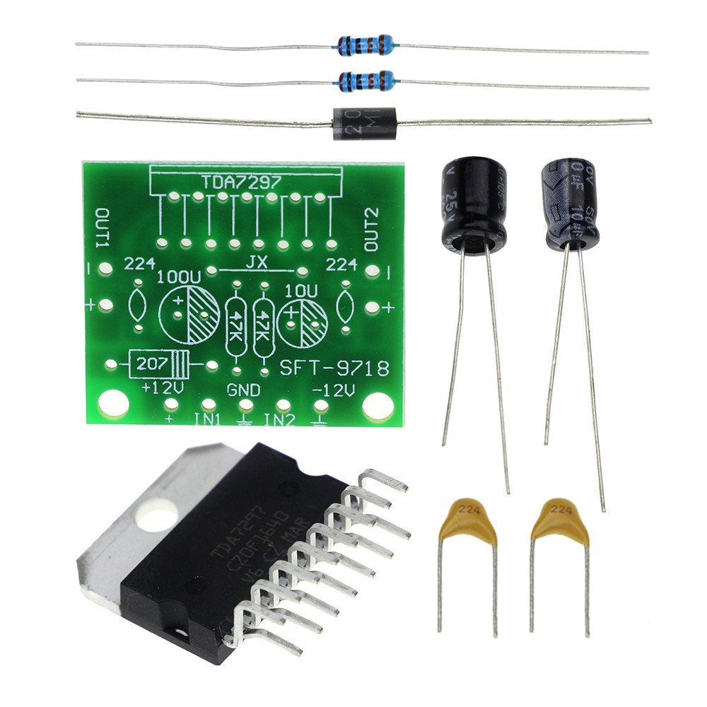 TDA7297 Amplifier Board Spare Parts DC 12V Grade 2.0 Dual Audio Encoding 15W Electronic DIY KIT
