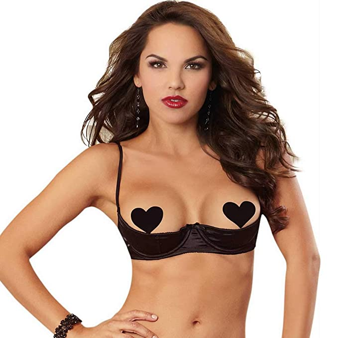 20a7d88b31013 DreamGirl Women s Sexy and Elegant Satin Open Cup Underwire Shelf Bra with  Zig-Zag Topstitching