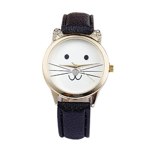 Gatos cara Reloj de pulsera - SODIAL(R)Damas diamante precioso gatos cara cuero de imitacion reloj de cuarzo Negro: Amazon.es: Relojes