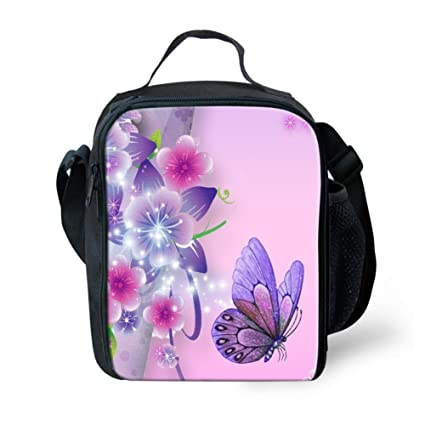 709fc511c89c HUGS IDEA Butterfly Insulated Lunch Bag Kids Small Thermal Lunchbox Handbag  Pink Food Container for Teen Girls