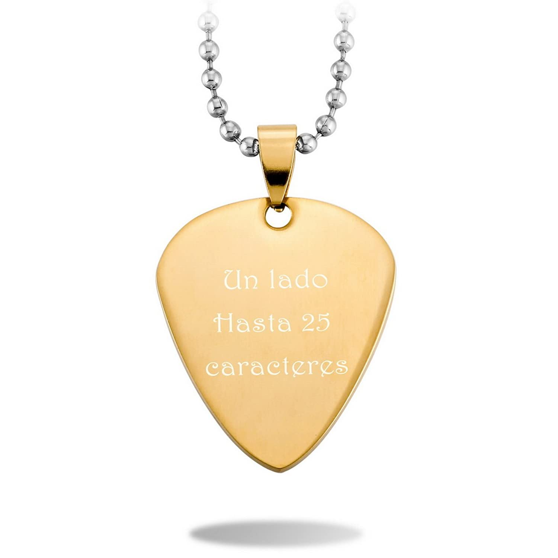 MeMeDIY Acero Inoxidable Colgante Collar Púa de Guitarra Corazón Heart Grabado personalizado