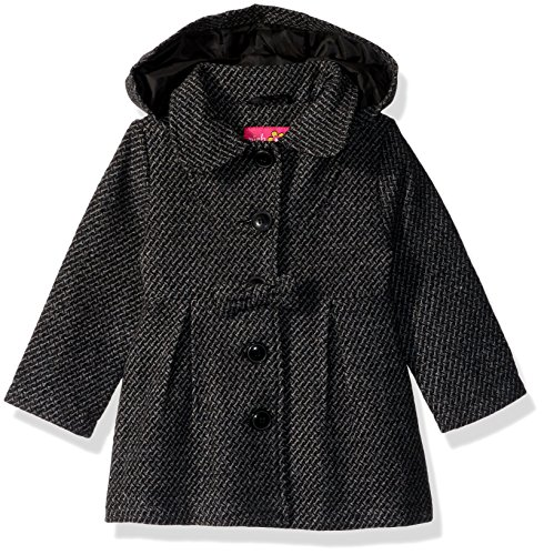 Pink Platinum Girls' Little Textured Wool Coat, Grey, 4