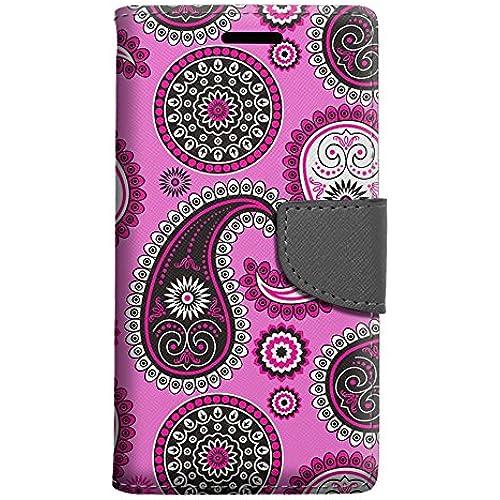 Samsung Galaxy S7 Edge Wallet Case - Paisley Pink Black on Pink Case Sales
